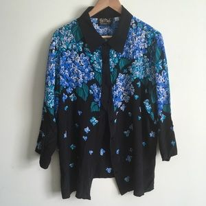 Bob Mackie | Blue and Black Sequined Floral Top